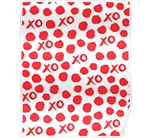 XOXO Love // hearts dots valentines day red and white by andrea lauren Poster