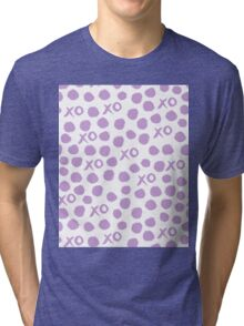 XOXO Love // hearts dots valentines day lilac pastel and white by andrea lauren Tri-blend T-Shirt