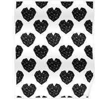 Love Heart geometric valentines day black and white minimal abstract valentine Poster