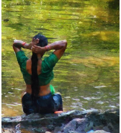 After the River Bathing. Indian Woman. Impressionism Sticker