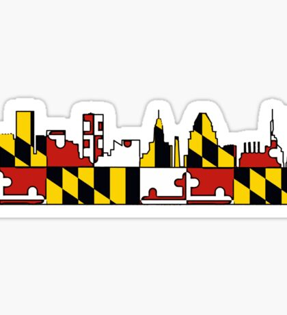 Baltimore Maryland flag skyline Sticker