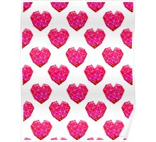 Love Heart geometric valentines day pink and white minimal abstract valentine Poster