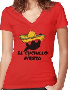 El Cuchillo Fiesta Knife Party Women's Fitted V-Neck T-Shirt