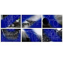 Vulcan Bomber Blue Prints Photographic Print