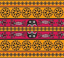 Aztec Pattern, Aztec Motif - Pink Blue Yellow by sitnica