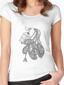 Black and white peacock Women's Fitted Scoop T-Shirt