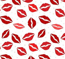 Lipstick Marks, Kiss Pattern, Stars - Red White by sitnica