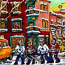 CANADIAN ART WILENSKY'S LUNCH DINER MONTREAL  WINTER HOCKEY SCENE by Carole  Spandau