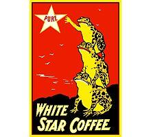 Retro vintage White Star Coffee ad, frogs Photographic Print