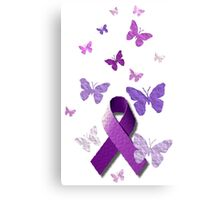 Purple Awareness Ribbon with Butterflies  Canvas Print