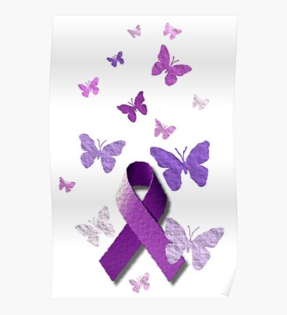 Purple Awareness Ribbon with Butterflies  Poster