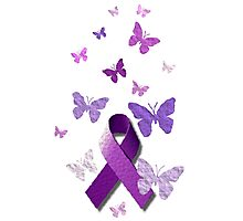 Purple Awareness Ribbon with Butterflies  Photographic Print