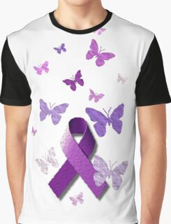 Purple Awareness Ribbon with Butterflies  Graphic T-Shirt