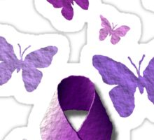 Purple Awareness Ribbon with Butterflies  Sticker