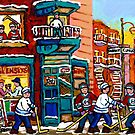 QUEBEC ART WILENSKY'S DINER WITH HOCKEY GAME MONTREAL CITY SCENE CANADIAN ART by Carole  Spandau