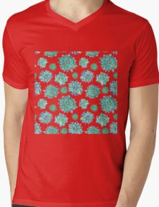 Watercolor Succulent Pattern  Mens V-Neck T-Shirt