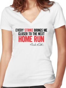Babe Ruth - Strikes Women's Fitted V-Neck T-Shirt