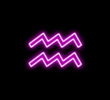 Bright Pink Neon - Aquarius the Water Bearer Star Sign by podartist