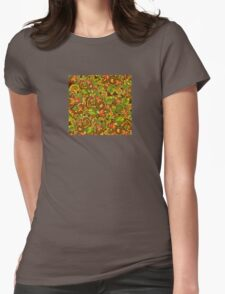 Bright background with diverse leaves and flowers Womens Fitted T-Shirt