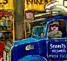 QUEBEC ARTIST PAINTS BOULANGERIE CHESKIE'S BAKERY MONTREAL WITH HOCKEY AND STREIT'S TRUCK CANADIAN ART Sticker