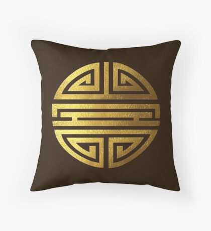 Four blessings, good luck, symbol, Chinese, Buddhism, gold Throw Pillow
