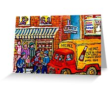 QUEBEC ART MONTREAL WINTER HOCKEY SCENE RUE FAIRMOUNT GROCERY SHOP CANADIAN PAINTING Greeting Card