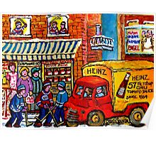 QUEBEC ART MONTREAL WINTER HOCKEY SCENE RUE FAIRMOUNT GROCERY SHOP CANADIAN PAINTING Poster
