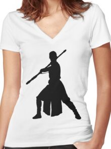 Rey - Fighting Stance Silhouette Women's Fitted V-Neck T-Shirt