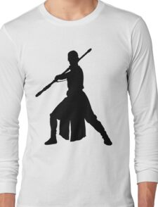 Rey - Fighting Stance Silhouette Long Sleeve T-Shirt