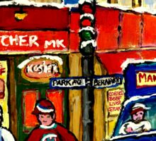 MONTREAL ART BOUCHERIE MEHADRIN'S BUTCHER SHOP WITH HOCKEY AND DELIVERY TRUCK CANADIAN PAINTING Sticker