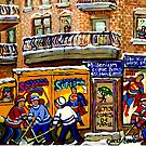 THE COMIC BOOK SHOP CANADIAN URBAN SCENES MONTREAL ART QUEBEC PAINTINGS HOCKEY ART WITH DELIVERY TRUCK by Carole  Spandau