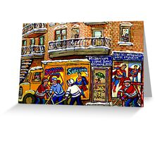 THE COMIC BOOK SHOP CANADIAN URBAN SCENES MONTREAL ART QUEBEC PAINTINGS HOCKEY ART WITH DELIVERY TRUCK Greeting Card