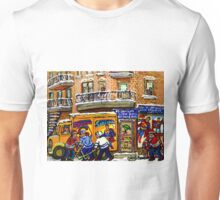 THE COMIC BOOK SHOP CANADIAN URBAN SCENES MONTREAL ART QUEBEC PAINTINGS HOCKEY ART WITH DELIVERY TRUCK Unisex T-Shirt