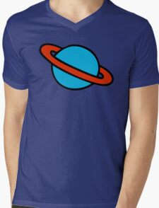Space Planets Pattern Mens V-Neck T-Shirt