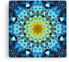 Bright star in a blue patterns environment Canvas Print