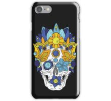 Royal Dead, Blue Floral Detail Crown and Skull iPhone Case/Skin