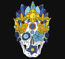 Royal Dead, Blue Floral Detail Crown and Skull Unisex T-Shirt