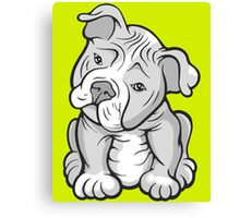 Pit Bull  Pup Tilted Head Cartoon White Canvas Print