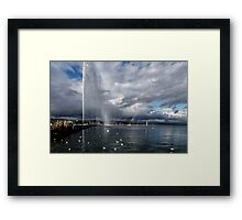 Jet d'eau and rainbow Framed Print