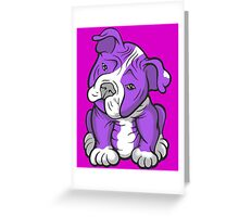 Pit Bull  Pup Tilted Head Cartoon Purple Greeting Card