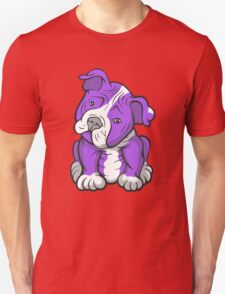 Pit Bull  Pup Tilted Head Cartoon Purple T-Shirt