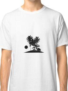 Tropical Island Sunset Scene Illustration Classic T-Shirt