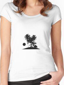 Tropical Island Sunset Scene Illustration Women's Fitted Scoop T-Shirt
