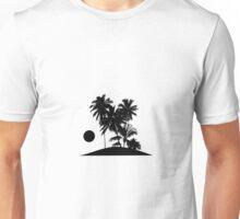 Tropical Island Sunset Scene Illustration Unisex T-Shirt