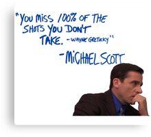 Michael Scott's Inspirational Quote (Colour) Canvas Print