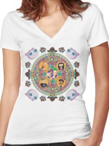 Phineas and Ferb Mandala Women's Fitted V-Neck T-Shirt