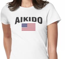 Aikido United States Flag Womens Fitted T-Shirt
