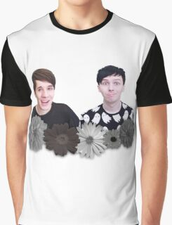 Dan and Phil- Black and White Flowers Graphic T-Shirt