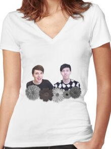 Dan and Phil- Black and White Flowers Women's Fitted V-Neck T-Shirt
