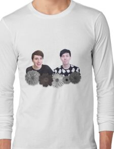 Dan and Phil- Black and White Flowers Long Sleeve T-Shirt